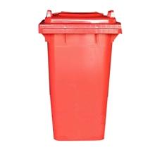 รูปภาพของ ถังขยะสี่เหลี่ยม 240 ลิตร 2 ล้อ ฝาเรียบ สีแดง