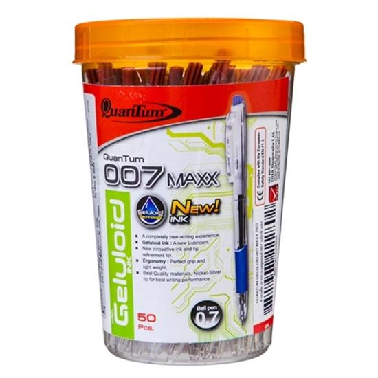 รูปภาพของ ปากกาลูกลื่นควอนตั้ม เจลโล่พลัส 007 Max 0.7 มม. สีแดง (กล่อง 50 ด้าม)