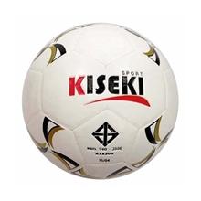 รูปภาพของ ลูกฟุตบอลหนังอัด PVC KISEKI เบอร์ 5 (ลายกราฟฟิก) ลายทวิส สีพื้นขาว ลายทอง/ดำ