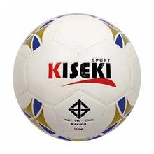 รูปภาพของ ลูกฟุตบอลหนังอัด PVC KISEKI เบอร์ 5 (ลายกราฟฟิก) ลายดาว สีพื้นขาว ลายทอง/น้ำเงิน