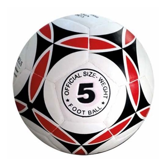 รูปภาพของ ลูกฟุตบอลหนังอัด PVC KISEKI เบอร์ 5(ลายกราฟฟิก) ลายดาว สีพื้นขาว ลายแดง/ดำ