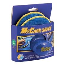 รูปภาพของ ฟองน้ำไมโครไฟเบอร์พร้อมมือจับ MYCARR SUPER สำหรับงานขัด/เคลือบสีรถยนต์ สีน้ำเงิน/เหลือง (แพ็ค 2 ชิ้น