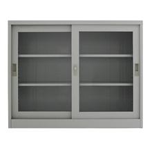 รูปภาพของ ตู้เอกสารเหล็กบานเลื่อนกระจกใส 3 ชั้น MET-975G สีเทาขาว