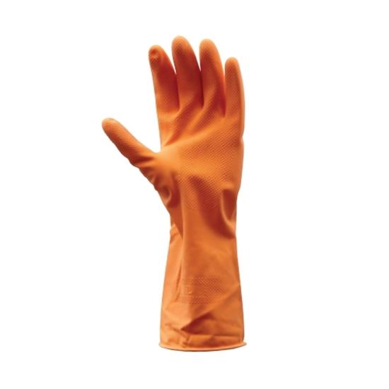รูปภาพของ ถุงมือยางธรรมชาติ KRATING D111 ยาว 12 นิ้ว สีส้ม Size M