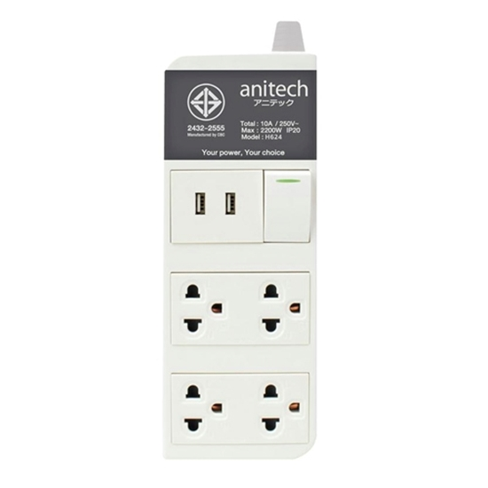 รูปภาพของ ปลั๊กไฟ แอนนิเทค H624 3 ช่อง 2 USB 3 เมตร เทา