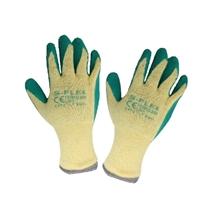 รูปภาพของ ถุงมือทอเคลือบยางกันบาดกันลื่น S-FLEX รุ่น 300g สีเขียว-เหลือง Size L