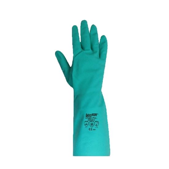 รูปภาพของ ถุงมือยางไนไตร รุ่น CHEMPRO Size L สีเขียว