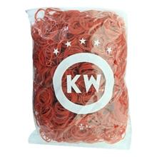 รูปภาพของ หนังยาง วงเล็ก ยี่ห้อ KW บรรจุแพ็คละ 0.5 กก. สีแดง