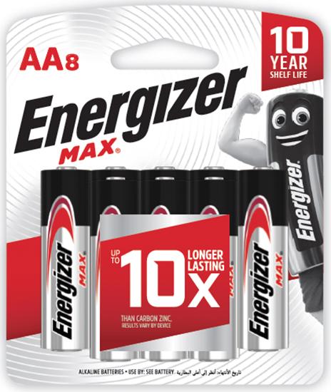 รูปภาพของ ถ่านอัลคาไลน์ Energizer MAX-E91 AA 1.5 โวลต์ แพ็ค 8