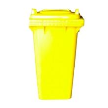 รูปภาพของ ถังขยะสี่เหลี่ยม 120 ลิตร 2 ล้อ ฝาเรียบ สีเหลือง