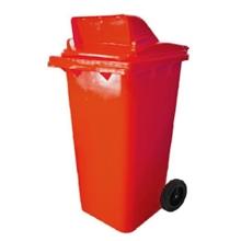 รูปภาพของ ถังขยะสี่เหลี่ยม 120 ลิตร 2 ล้อ เจาะช่องT สีแดง