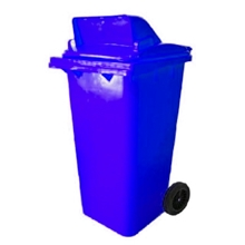 รูปภาพของ ถังขยะสี่เหลี่ยม 120 ลิตร 2 ล้อ เจาะช่องT สีน้ำเงิน