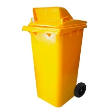รูปภาพของ ถังขยะสี่เหลี่ยม 240 ลิตร 2 ล้อ เจาะช่องT สีเหลือง
