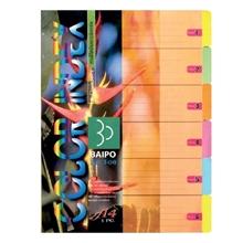 รูปภาพของ อินเด็กซ์กระดาษการ์ด ใบโพธิ์ 6 หยัก A4 คละสี(1x25แพ็ค)